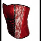 Gothic White And Red Zebra Spiral Steel Boned Corset