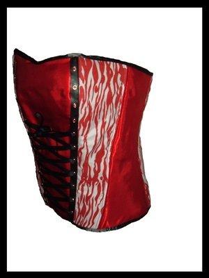 Gothic White And Red Zebra Spiral Steel Boned Corset