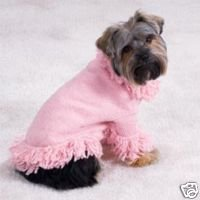 BABY PiNK DOG Clothes Knit Sweater W/Fring XSmall XS