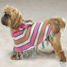 STRiPED DOG HOODiE PONCHO Shawl Clothes M Silky Pug