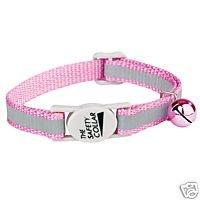 REFLECTiVE SAFETY BREAKAWAY CAT COLLAR Baby Pink Nylon