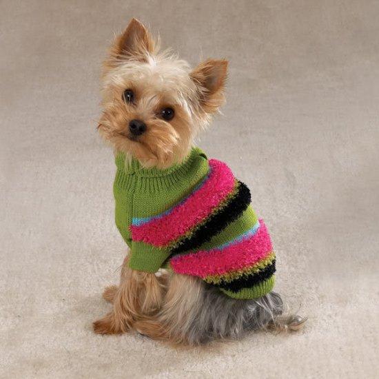 FUZZY STRiPE TURTLNECK DOG Sweater Large L Bulldog NWT