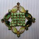 Vintage Green Rhinestone Aurora Borealis Pin Brooch