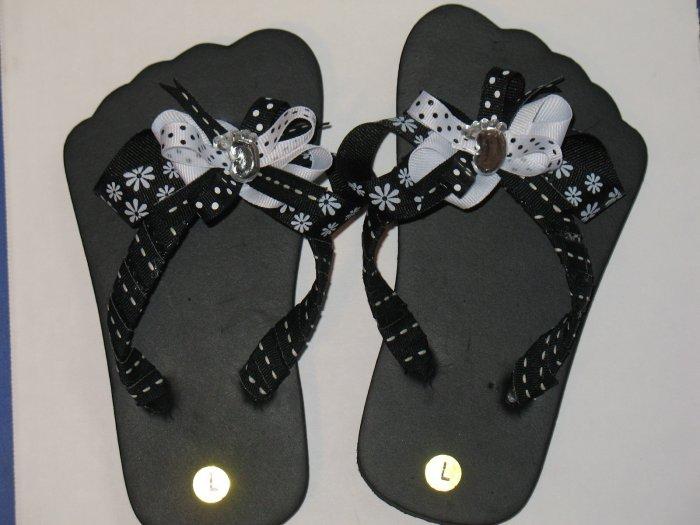 Black with White flower child Flip Flop