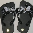 Black with White flower child Flip Flop