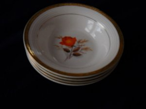 Limoges Triumph Vermillion Rose soup bowls (8 availabl