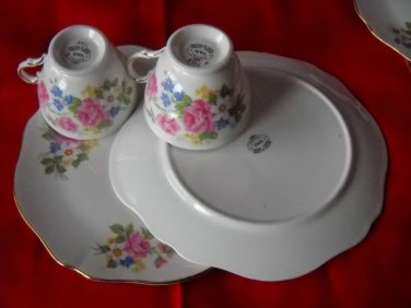 TWO (2) Royal Vale Cup and plate SETS-  Roses -Bone china England