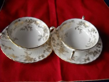MINTON ANCESTRAL Cream soup cup and saucers (6  sets available)