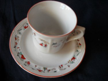 Katherine Babonovsky White Christmas cups and saucers  (8 available)