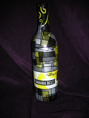 "Wine Bottle Decorative Lamps Yellow and Black ""Banana Belt"""