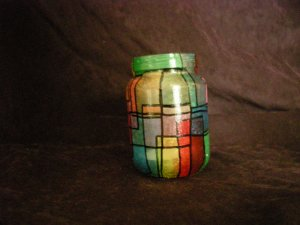 Recycled Jar Tealight Holder - Multi-colored