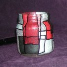 Recycled Jar Tealight Holder - Black, White and Red All Over