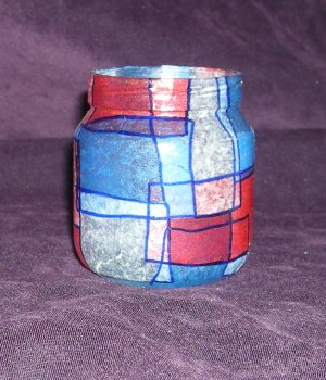 """Recycled Jar Tealight Holder - Red, White and Blue """"The Patriot"""""""