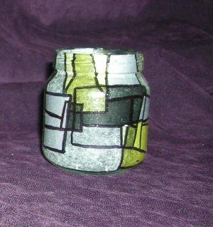 "Recycled Jar Tealight Holder - Yellow and Black ""Banana Belt"""