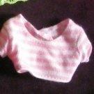 Barbie Pink and White stripe belly shirt (Barbie clothes, clothing, shirt)