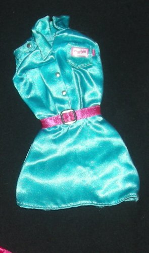 Barbie Clothes Dress Teal Satin with Pink Belt (barbie fashions, doll clothes)