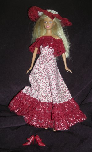 Barbie Clothes Clone Dress Hat White Dark Red Off the Shoulder (barbie, doll clothes, outfits)