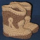 CROCHET COWBOY COWGIRL WESTERN BABY BOOTIES BOOTS BROWN