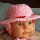 CROCHET BABY PINK HAT WITH EAR FLAPS AND TIE