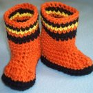 HALLOWEEN CANDY CORN CROCHET BABY BOOTIES BOOT GIRL BOY