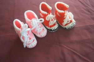 SALE 2 FOR 1 HAND CROCHET HIGH TOP SNEAKERS PINK RED