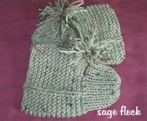 Ladies Hand Knitted Knit Slippers One Size Fits Most GREEN CAMO OR SAGE FLECK COLORS