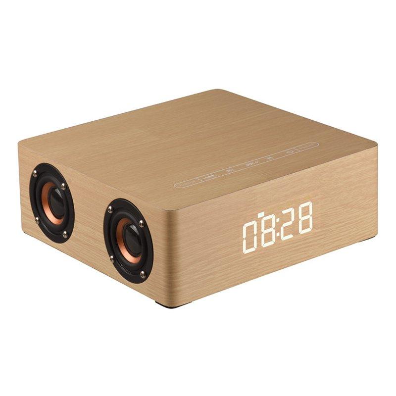Wooden Bluetooth Alarm Clock Speaker - 3800mAh Battery, Support Audio Input, TF Card/U-disk Play