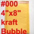 1000 pcs #000 4x8 Kraft Bubble Mailers