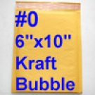"100pcs - #0 6""x10"" Self-Sealing Kraft Bubble Mailer Padded Mailer New"