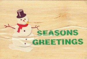 """Seasons Greetings"" Snowman Mounted Rubber Stamp"