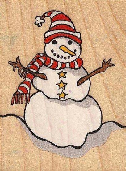 "Wood Mounted Winter ""Snowman"" Seasonal Rubber Stamp"