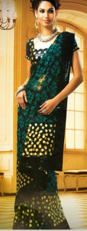 Black Net Saree with Blouse