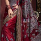 Red Shimmer Net Saree with Blouse