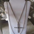 Two Tier Silver Cross Necklace