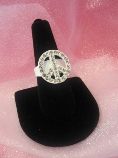 White Peace Sign Ring