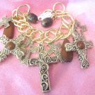 Gold Chain Link Cross Charm Bracelet
