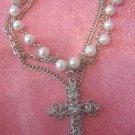 Pearl Bracelet w/ Blingy Cross Charm