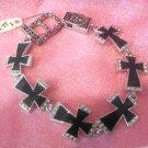 Cross Bracelet - Black Crosses Trimmed in Rhinestones