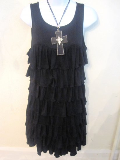 Black Ruffle Dress - Large *New*