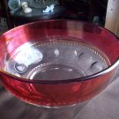 Thumbprint Red/Clear Glass Bowl