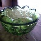 Vintage Viking Glass Green Rose Bowl