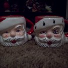 2 Vintage Ceramic Santa Head Cups  Lot 4