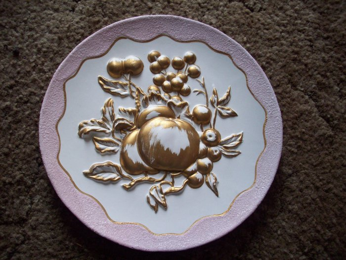 "9""  Majolica Apples and Grapes Japan Plate"