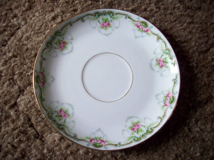 """5 1/2"""" Limoges Saucer    Flowers and Lace"""