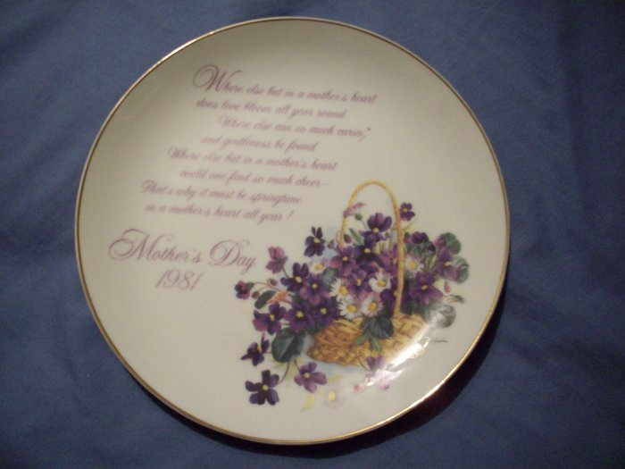 """8""""  1981  Mother's Day Plate Porcelain"""