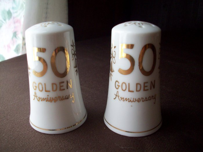 Lefton Vintage 50th Anniversary Salt and Pepper Shakers