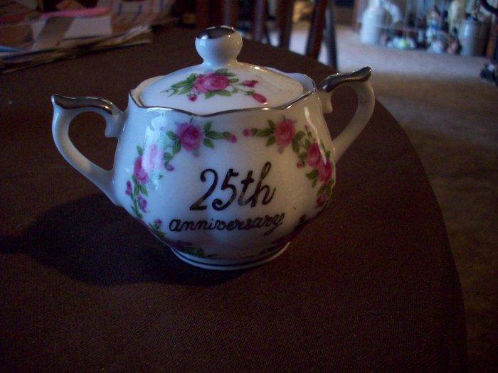 Vintage 25th Anniversary Lidded Sugar Bowl