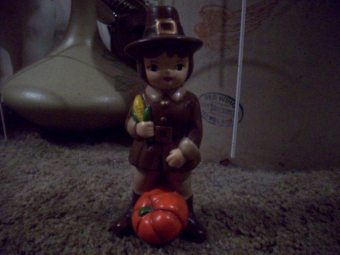 Ceramic Pilgrim Boy with corn and pumpkin  Ceramic