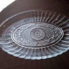 Clear Glass Tray  Star and Basket Weave Pattern