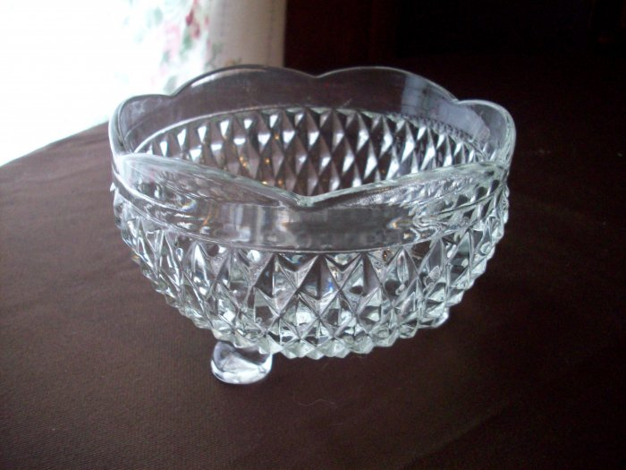 Vintage Clear Glass 3 Footed Bowl